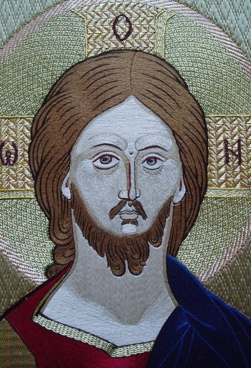 The Savior, icon in the tradition of ancient embroidered stitching of 16th century