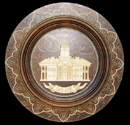 Minsk- the capital of Belarus. Wooden plate. Tsekunovka filigree art