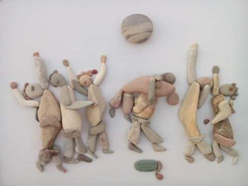 Pebble art by Latakia based sculptor Nizar Ali Badr, Syria
