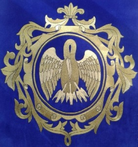 'Pelican' gold embroidery heraldry in the technique of attached brass strings