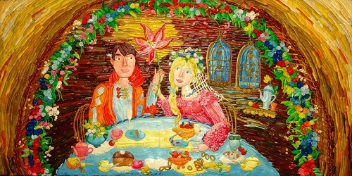 Plasticine painting on fairy tale The Scarlet Flower