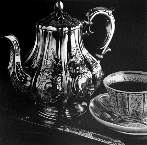 Tea set still life black-and-white pencil drawing