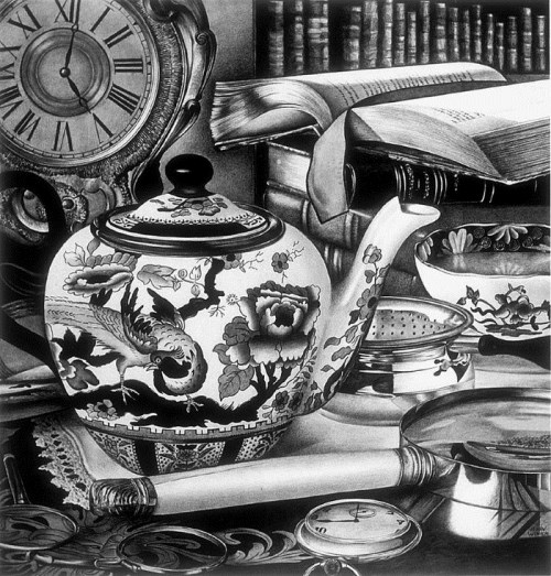 Teapot. Black and white still life pencil drawing