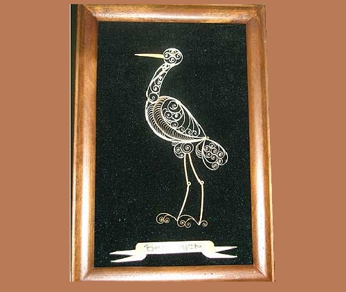 Tsekunovka filigree art, the bird is the symbol of Belarus