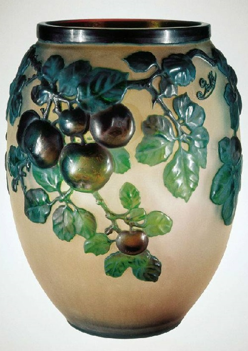 Apples. Vase by Art Nouveau Glass maker Emile Galle