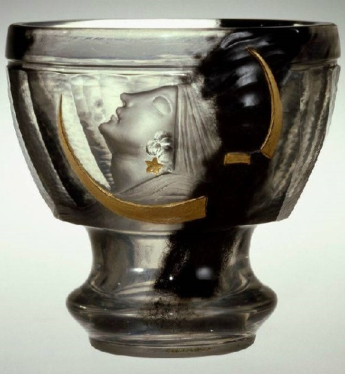 Myths. Vase by Art Nouveau Glass maker Emile Galle