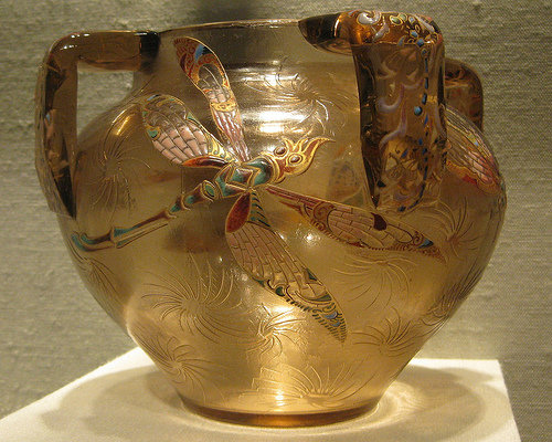 Brown Vase with a picture of a dragonfly