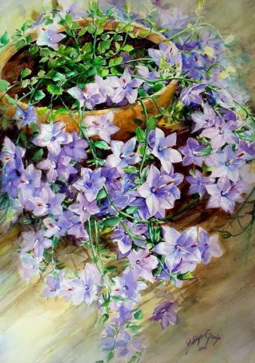 Petunia. Watercolor painting by Turkish artist Rukiye Garip