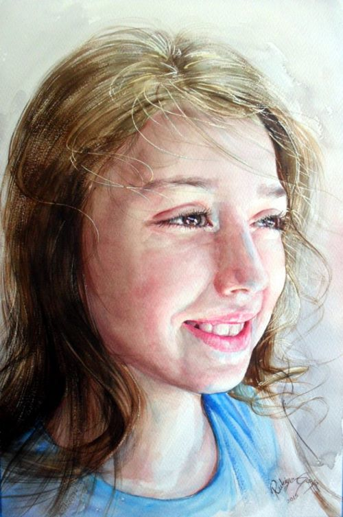 Portrait of a girl. Watercolor portrait by Rukiye Garip