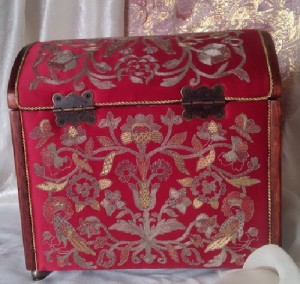 Wooden jewellery box decorated with gold embroidery. Handmade embroidery with natural silver threads of natural silk