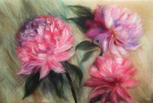 Wool painting Peonies
