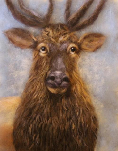 Wool painting Elk