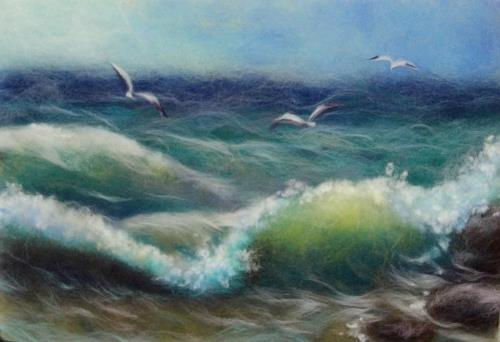 Wool painting Seagulls