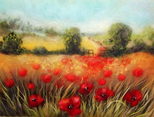 Wool painting Poppies