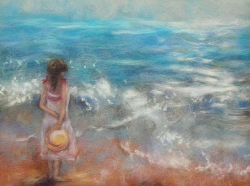 At the seaside. Wool painting