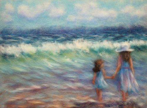At the sea. Wool painting by Yana Bogdanova