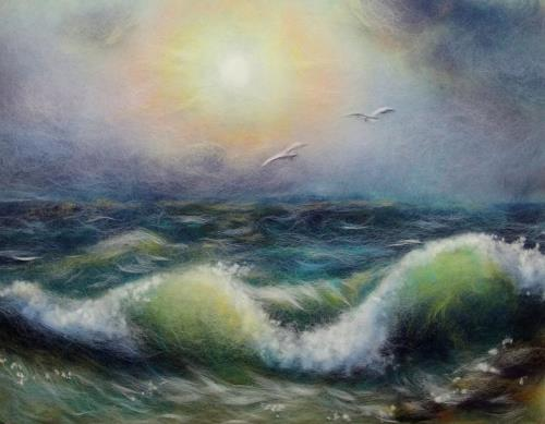 Waves. Wool painting by Yana Bogdanova