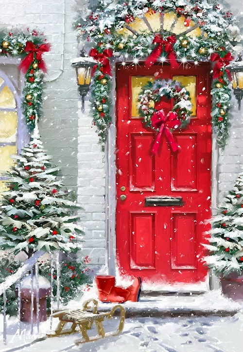 Decorated with Christmas wreath door