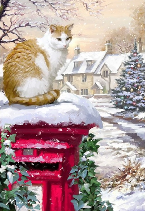 Christmas eve in painting by Richard Macneil