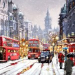 City street on Christmas eve. Painting by Richard Macneil