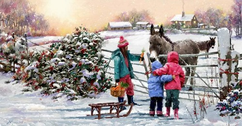 Donkeys. Christmas in painting by Richard Macneil