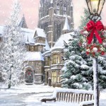 A bench. Christmas mood in painting by Richard Macneil