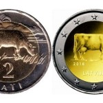 2016 Collectible coins with the images of Cows, issued by the Bank of Latvia