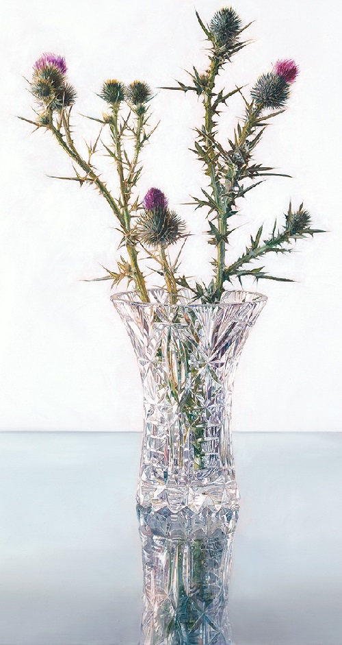 Crystal Thistle. Hyper realistic painting by Australian artist Michael Zavros
