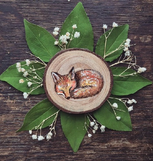 Little fox, wood burned and hand painted