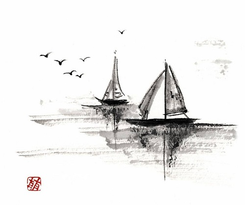 Two boats. Sumi-e black ink painting