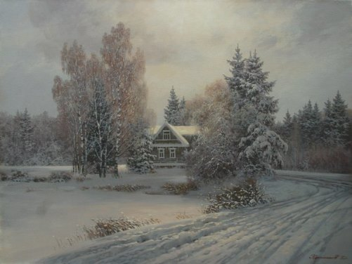 Winter road. Painting winter Dmitry Kolpashnikov