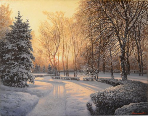 Winter square. Oil on canvas. Painting by Russian artist Dmitry Kolpashnikov