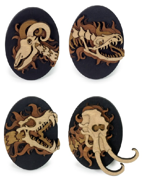 A series of Spirit Animals. Layered, laser cut, plywood mini artworks by Martin Tomsky