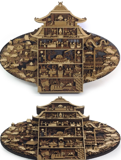 Bathhouse (Spirited Away) by Martin Tomsky. Layered, laser cut, plywood illustration