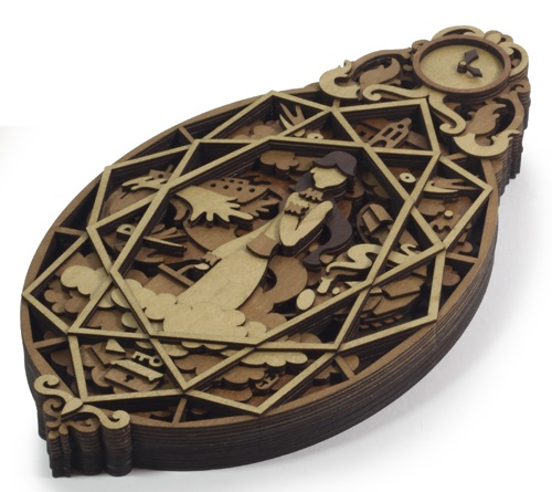 Clock Diamond by Martin Tomsky. Layered, laser cut, plywood illustration