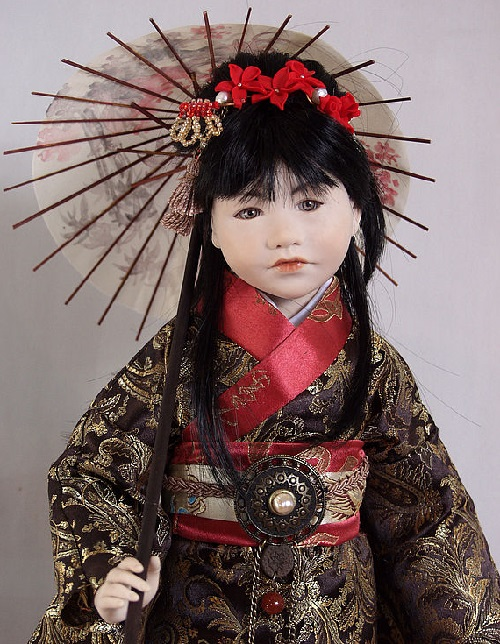 Doll 'Japanese' author's work, a single copy. Hand embroidery, Vintage