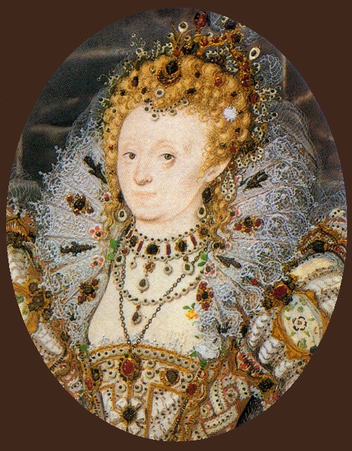 Elizabeth I of England with a crescent moon jewel in her hair