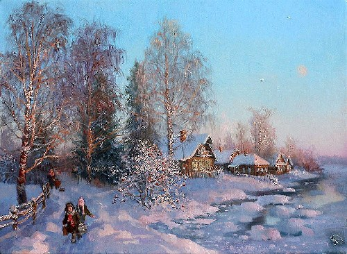 Russian Winter in painting by Vladimir Zhdanov