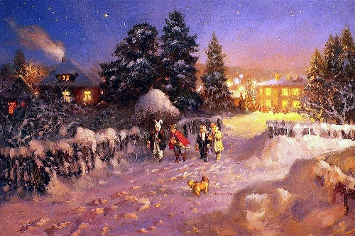 Christmas holidays. Russian Winter in painting by Vladimir Zhdanov