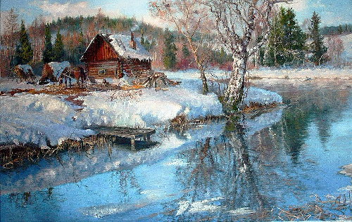 Russian Winter. Oil on canvas. Painting by Vladimir Zhdanov