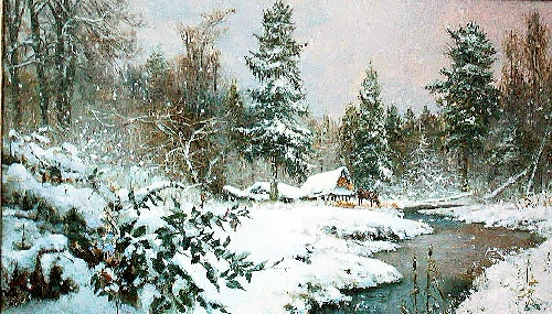 River in winter. Oil on canvas. Painting by Vladimir Zhdanov