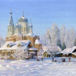Beautiful church. Vladimir Zhdanov Winter landscape