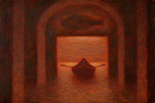 Water. Red painting by Mikhail Kaban-Petrov