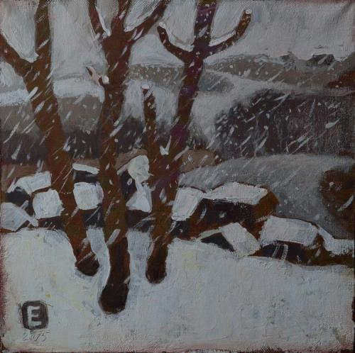 Wet Snow. Acrylic on canvas. Painting by Russian artist Elena Schumacher