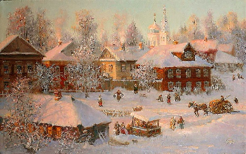 Evening in town. landscape. Oil on canvas. Painting by Vladimir Zhdanov