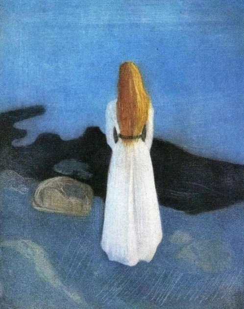 Mysterious Edvard Munch. Young woman on the beach in 1896