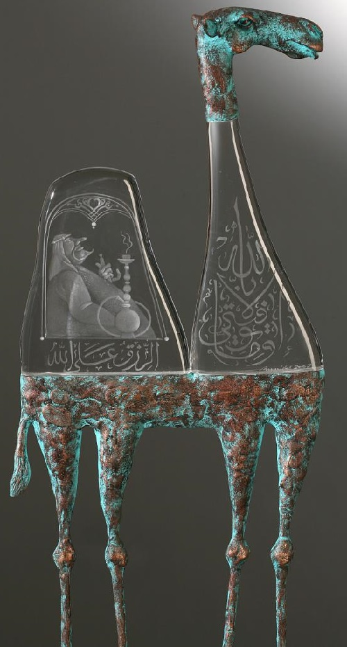 Camel. Engraved glass and metal sculpture by Dalibor Nesnidal
