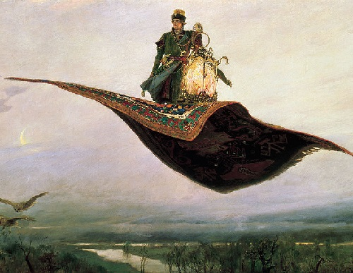 Ivan Tsarevich, the hero of Russian folklore, on The Magic Flying Carpet. Painting by Viktor Vasnetsov. 1880