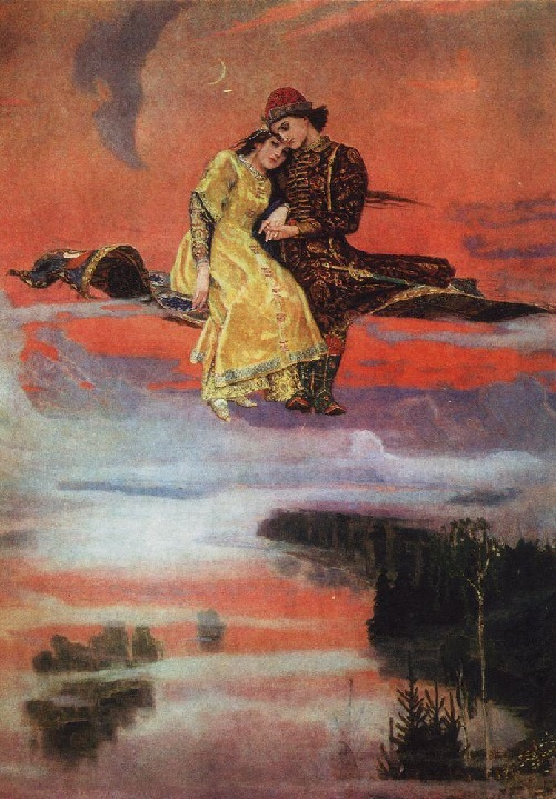 Magic Carpet, 1926. Painting by Viktor Vasnetsov. Ivan Tsarevich and Vasilisa the Beautiful, characters of Russian folklore