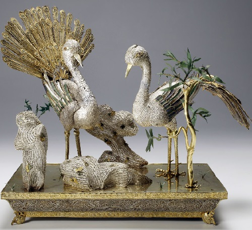 Table decoration in the form of a pair of peacocks. China, 1740s - 1750s